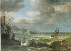 Schipbreuk met toren en vuurtoren op de achtergrond