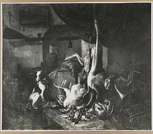 Interieur met jachtbuit en jachtattributen; links op een stoel een hond