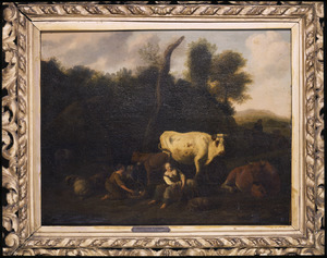 Landschap met herders en vee bij een hut