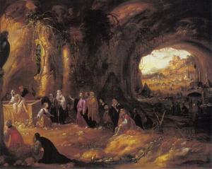 Grotinterieur met de opwekking van Lazarus