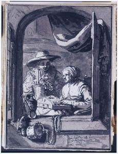Kantklossende vrouw en vrouw met bloemenmand, in een open venster