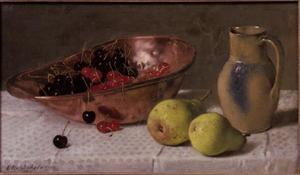 Stilleven met peren en kersen