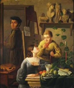 Zelfportret met zijn echtgenote Hendrika de Zeeuw en zijn zoon Alexander
