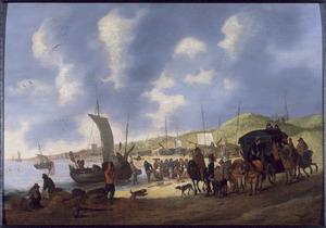 Strandgezicht met visverkoop; op de achtergrond Scheveningen