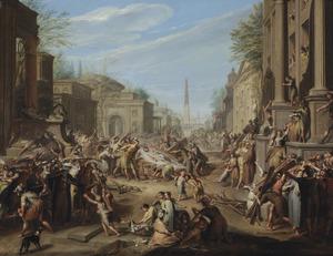Het verbranden van een vrouwenlijk in de straten van Rome temidden van en groot oproer