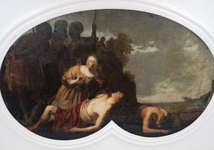 De gewonde Theagenes en de wanhopige Charicleia op het strand gevonden door piraten (Heliodorus' Aetihopica', boek 1, openingsscène)