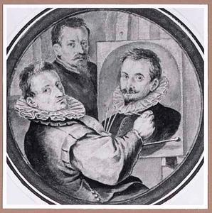 Zelfportret van Paulus van Vianen, het portret van Hans von Aachen schilderend, en Adriaan de Vries in de achtergrond