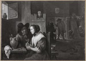 Een amoureus paar in een herberg