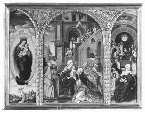 Maria met kind op de maansikkel (links), de aanbidding van de Wijzen (midden), de nederdaling van de Heilige Geest (rechts)