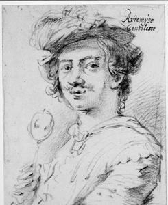 Portret van Artemisia Gentileschi (1593-1654) als een man met snor
