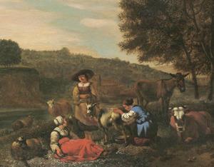 Zuidelijk landschap met vee en een vrouw die een geit melkt