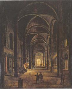 Capriccio van een kerkinterieur met kruis gewelf plafond