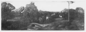 Landschap met vesting op rotsgebergte en brug over een rivier