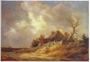 Duinlandschap met een boerderij aan een weg