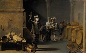 Elegant gezelschap met wijnproevende man in een wijnkelder