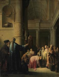 Christus en de overspelige vrouw: Hij schrijft zijn oordeel op de vloer