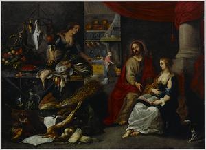Christus in het huis van Maria en Martha (Lucas 10:38-42) met een stilleven van gevogelte, vruchten en siervaatwerk