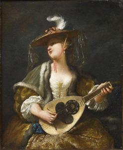 Een damespelend op een mandoline