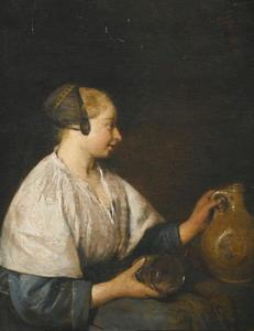 Vrouw met een kan en een leeg glas
