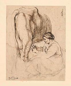 Studie van een vrouw die een koe melkt