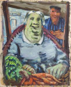 Groenteverkoopster op de markt