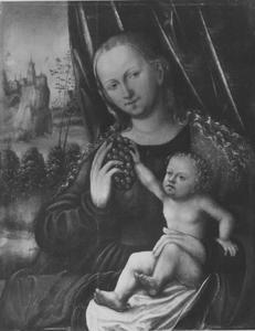 Maria met kind en druiventros