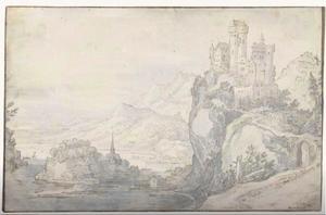 Rivierlandschap met een kasteel op een berg