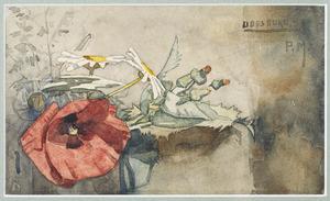 Stilleven met klaproos, margrieten en andere veldbloemen