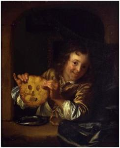 Jongen met pannenkoek