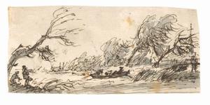 Rivierlandschap met (veer)boot bij harde wind