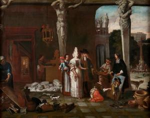 De kunstenaar toont beschermheren zijn schilderijen