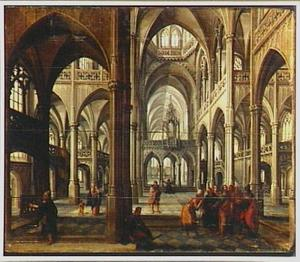 Interieur van een gotische kerk met Christus omringd door vier apostelen in gesprek met twee farizeërs