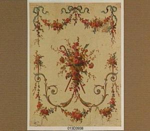 Decoratief paneel met bloemen in een mand, omringd door festoenen, boeketten en strikken