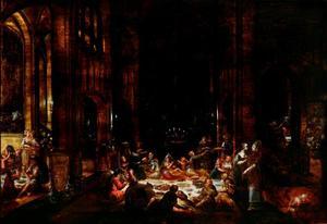 Tempelinterieur met de Baälpriesters en hun verwanten, die de offergaven verbrassen (Daniël 14)