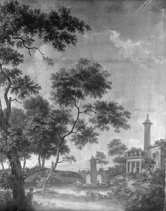 Boomrijk landschap met fantasiearchitectuur met Romeinse motieven