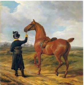 Verzorger met een voskleurig paard van Lord Rivers