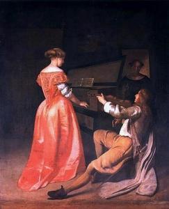 Vrouw aan het virginaal en een vioolspeler