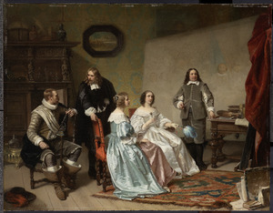 De Prinses van Oranje bezoekt het atelier van Bartholomeus van der Helst. Op de achtergrond de 'Schuttersmaaltijd' van 1648