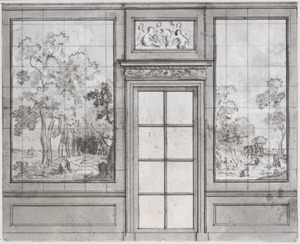 Wand met twee behangselvlakken ter weerszijden van een beglaasde deur