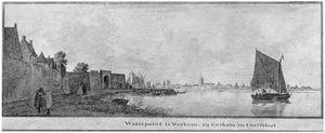 De Boven-Merwede met links Woudrichem met de Waterpoort en op de achtergrond Gorinchem