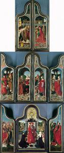 De Mis van Gregorius (buitenzijde eerste paar luiken); De HH. Jozef en Willibrord of Nicolaas? (binnenzijde eerste linkerluik), keizer Hendrik II en de H. Elisabeth van Thüringen (buitenzijde tweede linkerluik), de HH. Martinus van Tours? en Dorothea (buitenzijde tweede rechterluik), de HH. Catharina en Ursula (binnenzijde eerste rechterluik); De HH. Ambrosius, Gregorius en Augustinus (binnenzijde tweede linkerluik), De H. Hiëronymus en het stichterspaar en hun kinderen (middenpaneel), de HH. Bartholomeüs, Andreas en Thomas (binnenzijde tweede rechterluik)