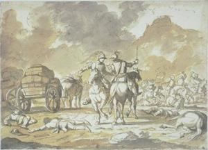 Vechtende cavaliers dichtbij een konvooi