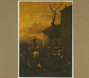 Rustende reizigers bij een herberg in een zuidelijk landschap