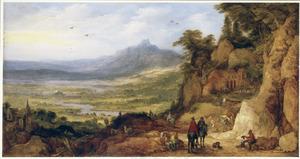 Berglandschap met reizigers bij een herberg