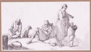 Twee zittende mannen  en vrouw met jongetje