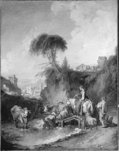 Landschap met herder en herderin