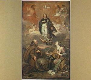 De H. Franciscus van Assisi en Catharina van Alexandrië aanbidden de Madonna op de maansikkel met engelen en H. Drieëenheid