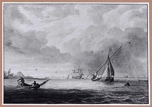 Schepen op zee tijdens een regenbui