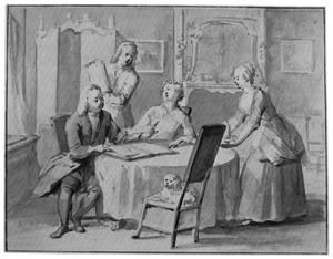 Portret van een kunstverzamelaar, diens echtgenote en hun zoon