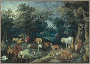 Orpheus spelend voor de wilde dieren